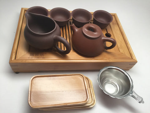 Yixing Tea Set A( 5oz Xiao Shi Piao Zhisha) with tea tray