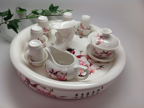 Gaiwan- Floral porcelain tea set With Large tea tray
