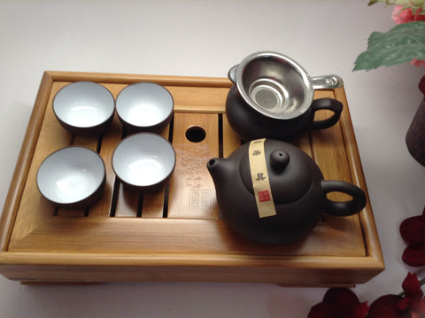 Yixing Tea Set Black And White Xishi With Tea Tray $82.99 For Sale