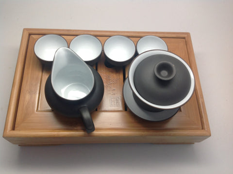 Gaiwan Tea Set With Bamboo Tea Tray #691
