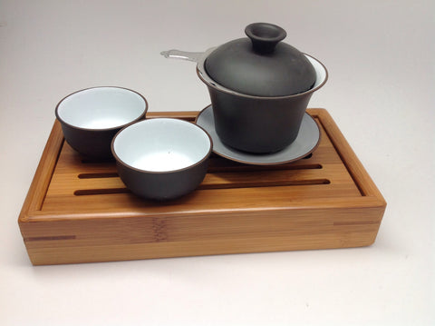 Gong gu travel mini set 4pcs Gaiwan  4oz capacity $39.95 For Sale with cups and bamboo tea tray#149