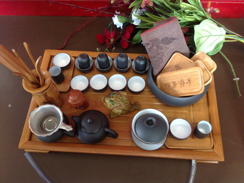 Yixing Tea Set Black and White Large Set Total 30pcs $189