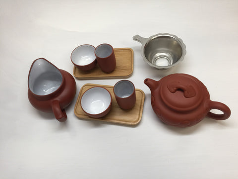 Yixing Tea pot 4.5 oz Set( Red Zhisha) #212 12 pcs Ruyi