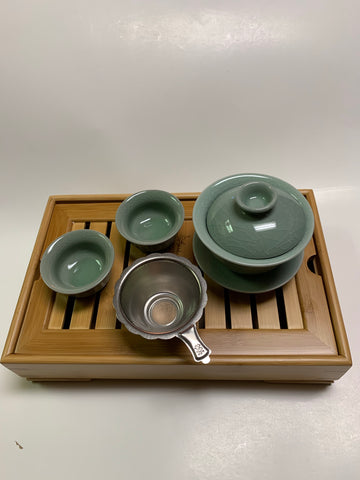 Green Gaiwan set -  With Small Tea Tray #S55