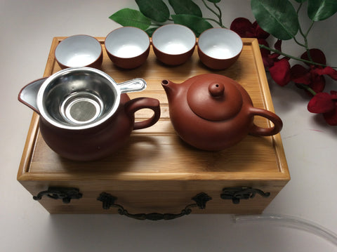 Travel tea set ( fancy tea set with bamboo tea tray) #79
