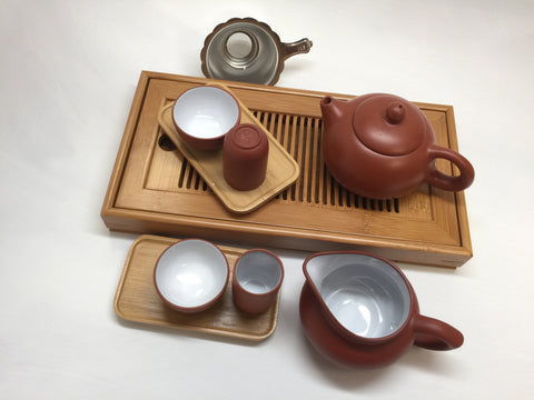 Yixing Tea pot 4.5 oz Set( Red Zhisha) #212 12 pcs Xishi R