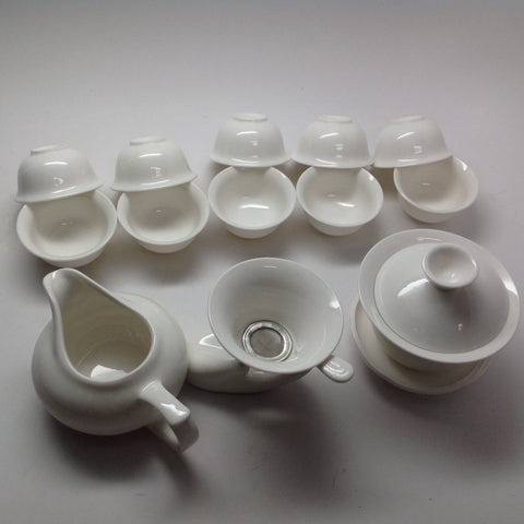 Pure White Ceramic Tea Set