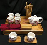 Large tea set with bamboo tea tray