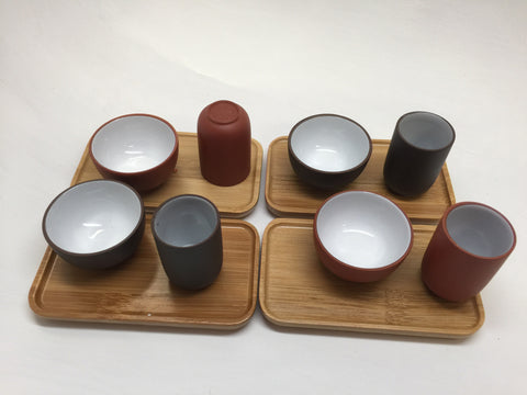Cups-Gong fu tea tasting cups 4 set of total 8 cups-clay cups