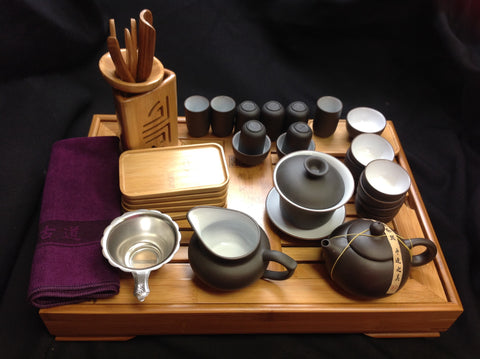Yixing tea set with large Size Bamboo Tea Tray 29pcs-JY800