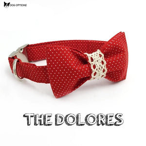 The Dolores Red Dot Dog Collar/Leash with Bowtie-Dog Options