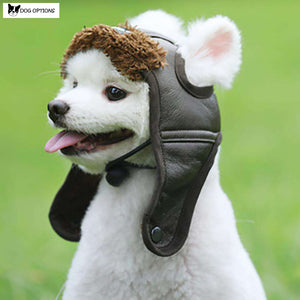 Warm Dog Pilot Leather Hat-Dog Options