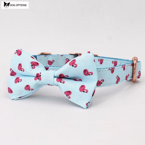 The Flamingo - Personalized Designer Dog Collar/Leash With Bowtie-Dog Options