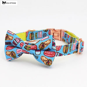 The Food - Personalized Designer Dog Collar/Leash With Bowtie-Dog Options