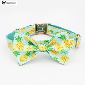 The Pineapple - Personalized Designer Dog Collar/Leash With Bowtie-Dog Options