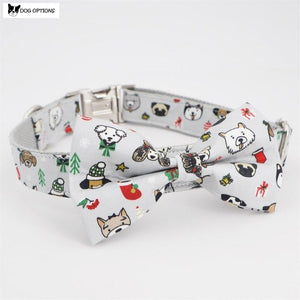The Snow - Personalized Designer Dog Collar With Bowtie-Dog Options