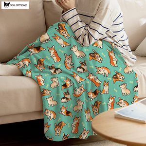 Corgi Green Throw Blanket-Dog Options