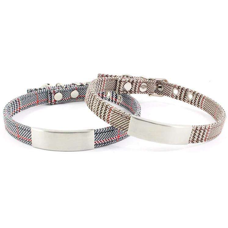 Retro Houndstooth Personalized Collar For Small Pet-Dog Options