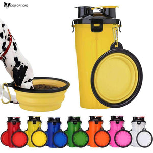 Foldable Travel 2 in 1 Drink Water Bottle and Feed Bowl-Dog Options