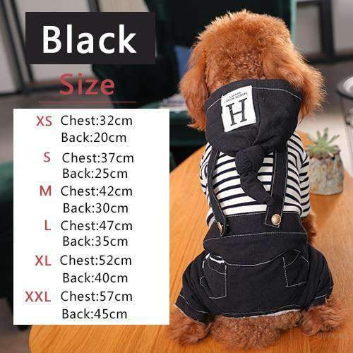 DUNGAREE HOODIES STRIPE CLOTHES FOR SMALL PET