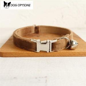 The Brown Velvet - Personalized Handmade Cat Collar
