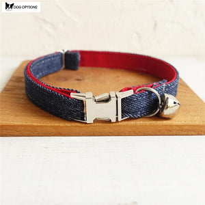 The Red Denim - Personalized Handmade Cat Collar-Dog Options
