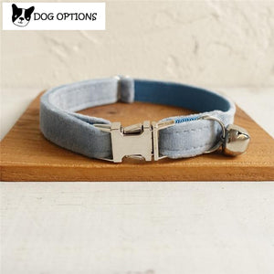 The Sky Blue Velvet - Personalized Handmade Cat Collar