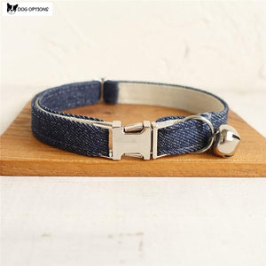 The Denim White - Personalized Handmade Cat Collar