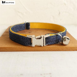 The Yellow Denim - Personalized Handmade Cat Collar-Dog Options