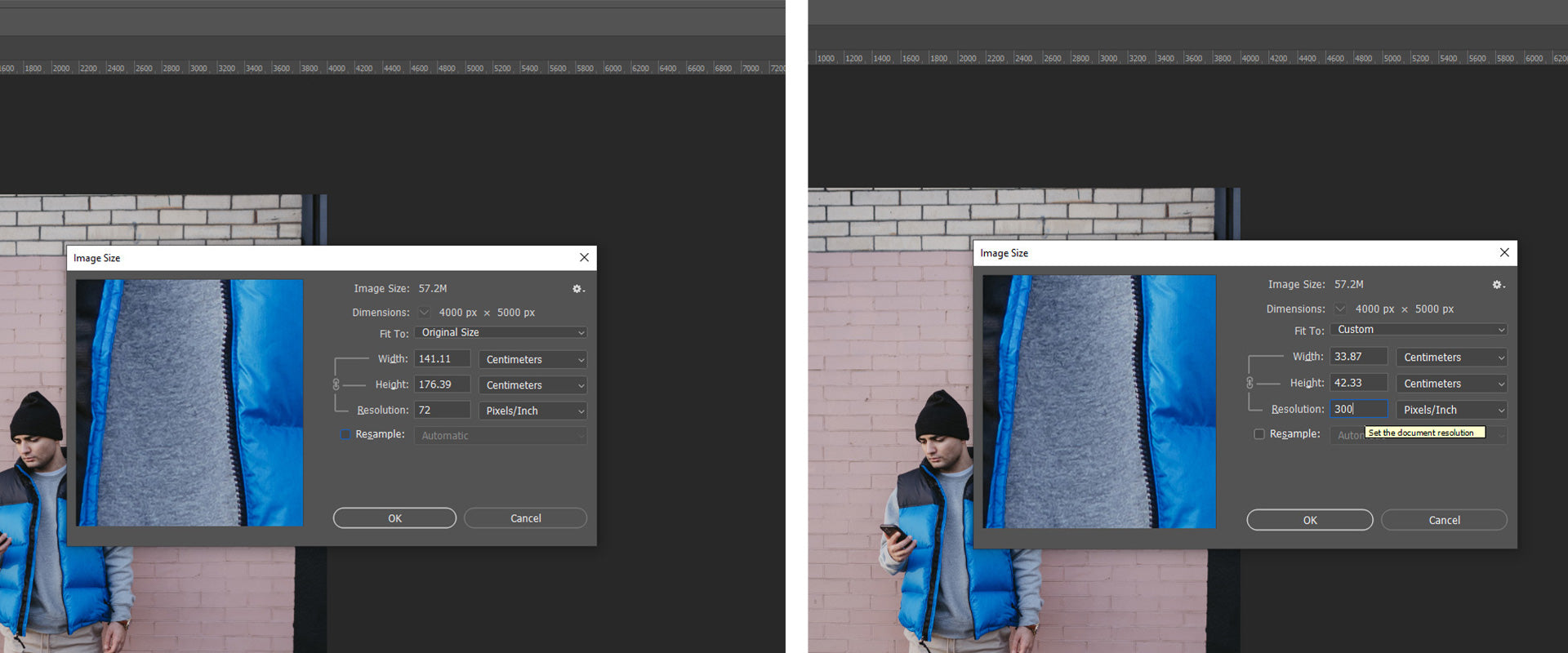 Image size menu in Photoshop.