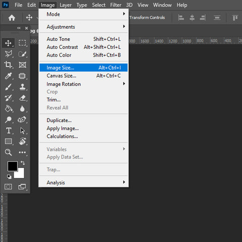 Selecting image size in image menu bar for Photoshop.