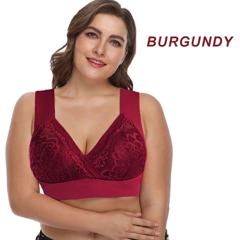 Plus-Sized Extra Elastic Wireless Support Comfort Lace Bra