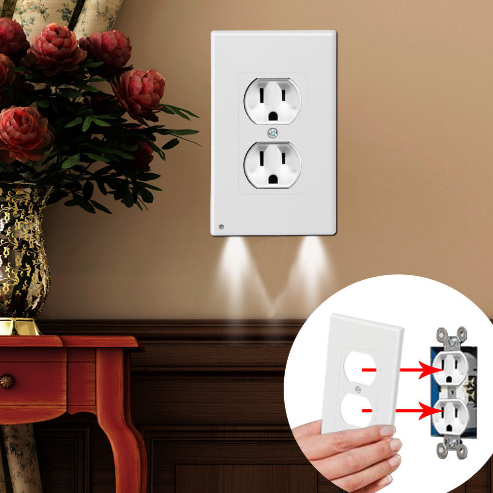 Outlet Wall Plate With LED Night Lights- No Batteries Or Wires