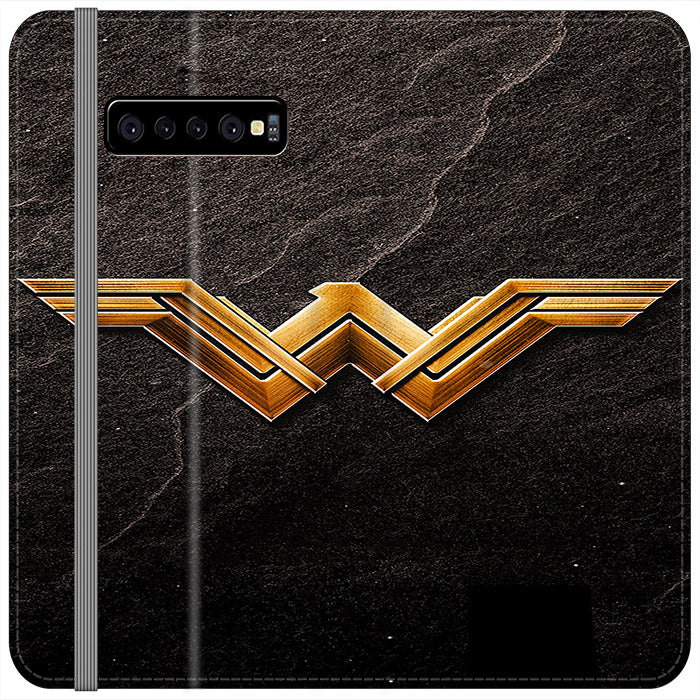 Wonder Woman Gold Logo On Rock