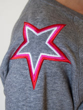 Load image into Gallery viewer, Mid Heather Grey Shoulder Star Sweatshirt