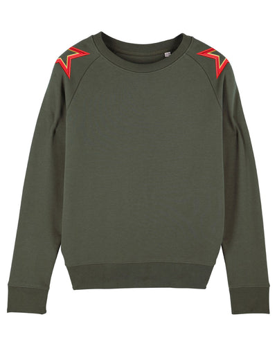 Khaki Shoulder Star Sweatshirt