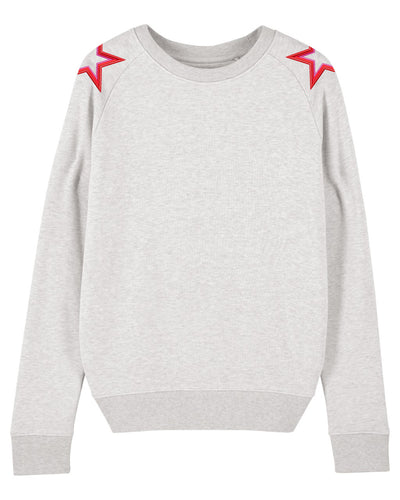 Cream Heather Grey Shoulder Star Sweatshirt