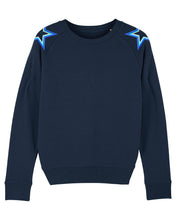 Load image into Gallery viewer, Navy Shoulder Star Sweatshirt