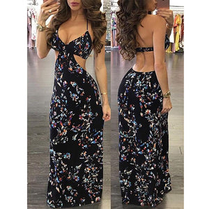 Vintage Women Floral Maxi Slip Dress