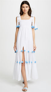 Europe and the United States split skirt long skirt sling hair ball dress holiday dress