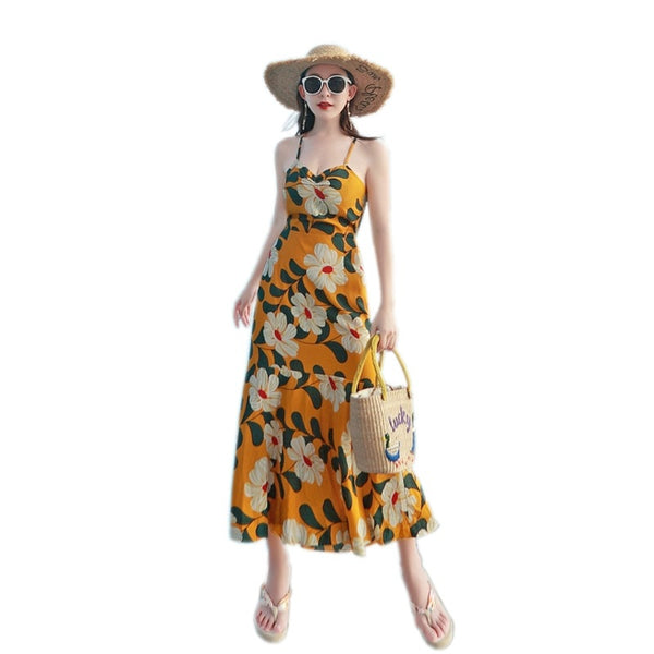 Maldives beach skirt fairy summer new seaside holiday dress sling print dress was thin