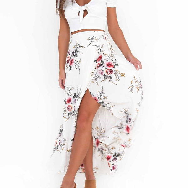 irregular split print skirt