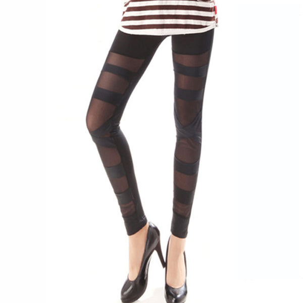 Hollow Out Design Pure Color Leggings