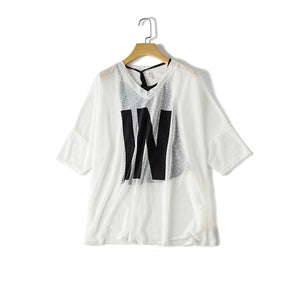 Women's V-neck T-shirt  Korean version of the loose seven-point sleeve shirt hanging shirt