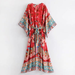 Summer new Bohemia V-neck print long skirt is waistband loose fashion kimono dress