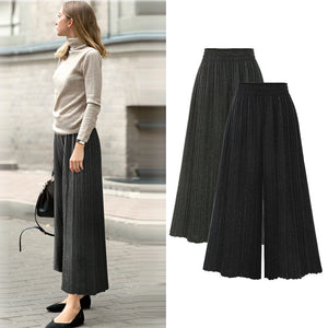 Spring and autumn large size women's high waist pleated micro-la wide leg pants women's nine points casual pants