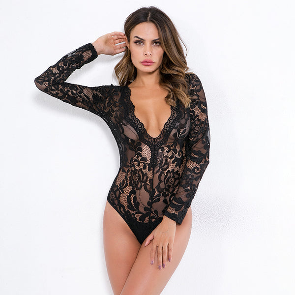 Floral Lace Sheer Teddy Bodysuit