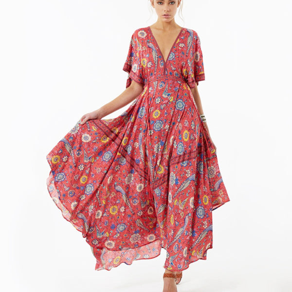Bohemia V-neck chiffon beach skirt dress skirt