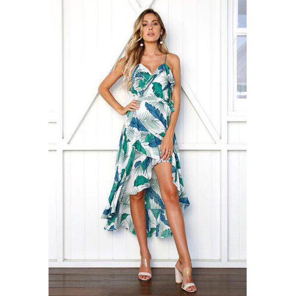 European and American printing V-neck sling ruffled midi skirt beach dress