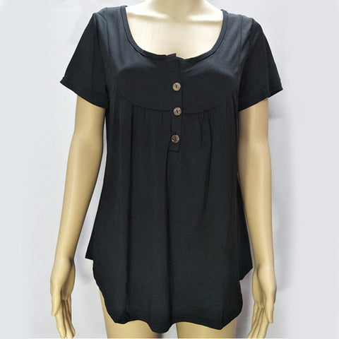 women's pleated button loose short-sleeved T-shirt top
